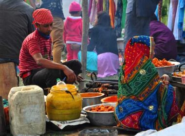 Travel in India. Indian street food