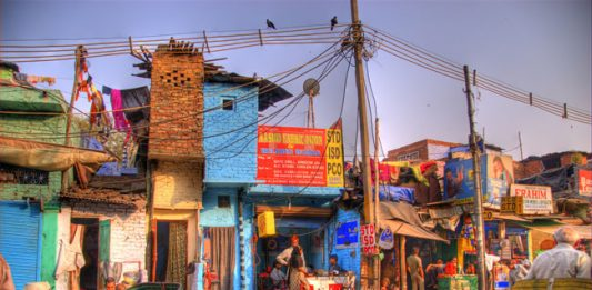 A view of Old Delhi from a moving rickshaw.