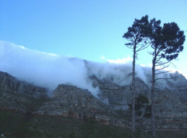 South Africa Table Mountain The cloud cover overhangs at the sides of the mountain. Photo by Sarah Ramnath