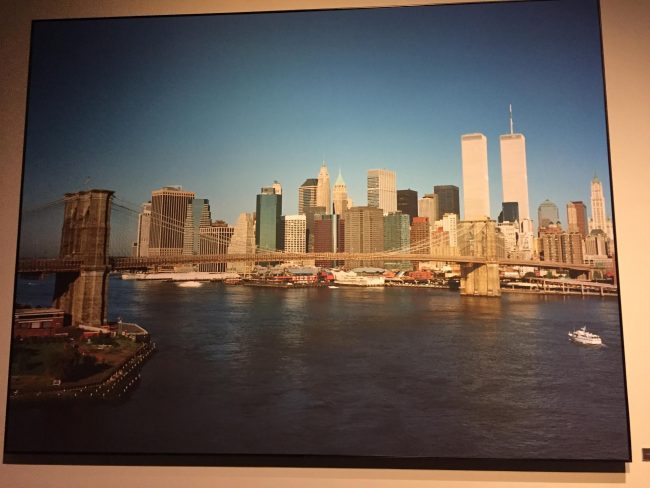 9/11 The Twin Towers in a museum photo taken around 8:30 September 11. Photo by Claudia Carbone
