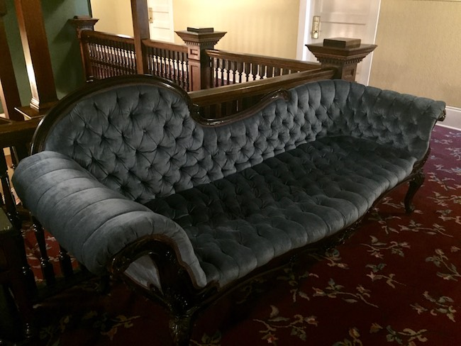 Fainting couch in the upstairs lobby. Photo by Claudia Carbone