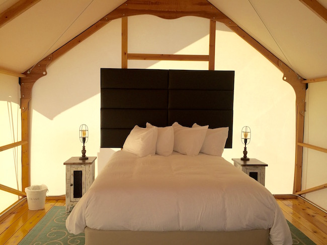 Queen bed with nightstands and lamps. Photo by Claudia Carbone