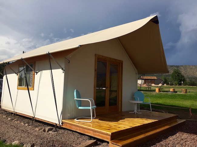 Echo Canyon Campground glamping tent. Photo by Claudia Carbone
