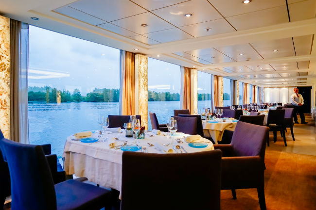 A restaurant on a Viking Cruise ship. Photo by Viking Cruises