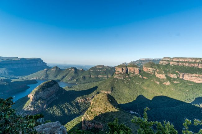 Mpumalanga Panorama Route in South Africa. These natural formations are also known as the Three Sisters and the Chief and His Three Wives. The hill itself was named Mapjaneng after a renowned chief who was involved in a famous battle nearby and the Three Rondavels were named after his three wives: Magabolie, Mogoladikwe and Maseroto. Photo by Alexandra Findlay