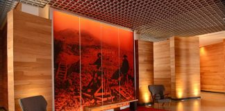 Artwork depicts Colorado's gold mining days. Photo courtesy of Hotel Indigo