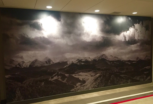 Every floor has a mural with a Colorado Rocky Mountain scene. Photo by Claudia Carbone