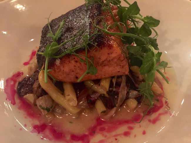 Roasted king salmon dish. Photo by Claudia Carbone