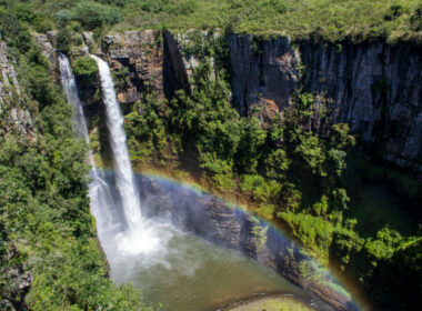 Mpumalanga Panorama Route in South Africa Twin waterfalls and constant rainbows characterise Mac Mac Falls. This area of Mpumalanga is rich with waterfalls and natural pools ideal for walks, picnics, swims and photos. Photo by Alexandra Findlay