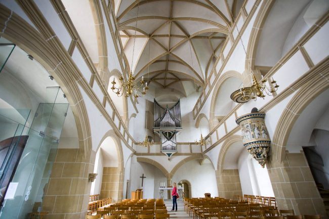 A very simple chapel inside Torgau's ornate Schloss Hartenfels with its magnificent exterior spiral staircase is deemed to be the first Protestant church (Photo credit: Andreas Franke)