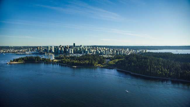 Stanley Park in Downtown Vancouver has miles of trails, many playgrounds and even a miniature train. Credit: Tourism Vancouver/ Barbershop Films