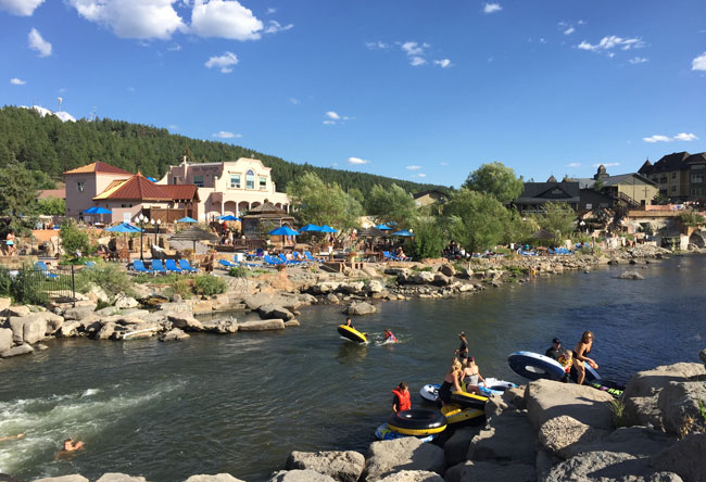 Tubers in the San Juan River in front of The Springs Resort & Spa in Pagosa Springs, Colorado. Photo by Janna Graber