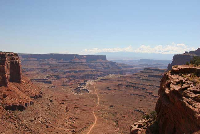 Canyonlands - The hair-raising Shaffer Trail winds its way from the canyon floor to the Island in the Sky district. Flickr/Kimon Berlin