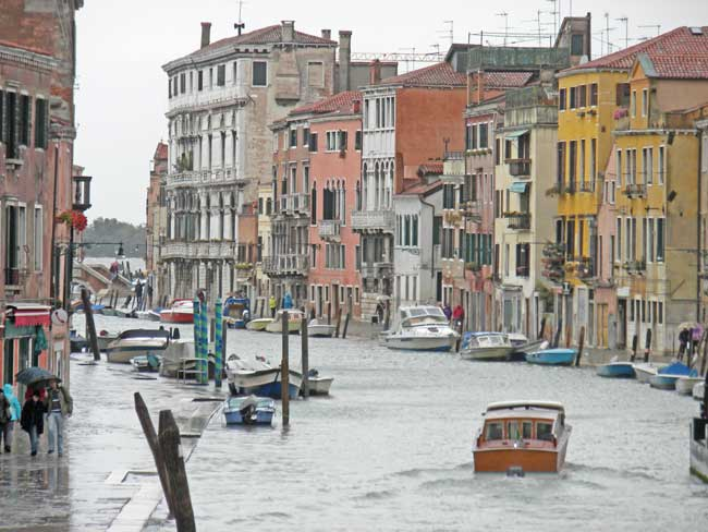 Travel in Venice is often by boat.