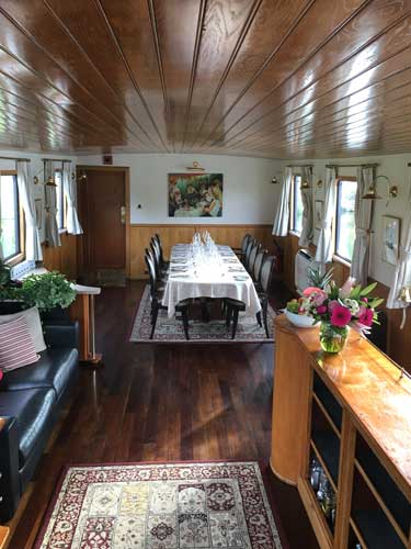 Dining area aboard the L'Impressionnistel. Photo by David Powell