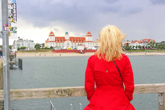 German islands travel - The author looks back at the seaside town of Binz from the pier on the German island of Sylt. Photo by Debbie Pond