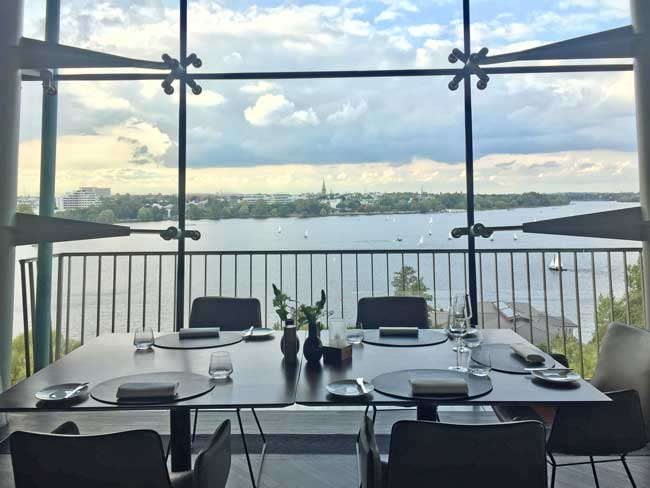 The morning view of Alster Lake from HERITAGE Restaurant & Bar at Le Méridien Hamburg. Photo by Janna Graber