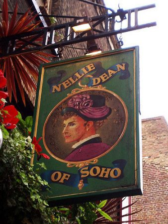 Exterior sign at Nellie Dean of Soho, a popular pub in London. Flickr/Ewan Munro