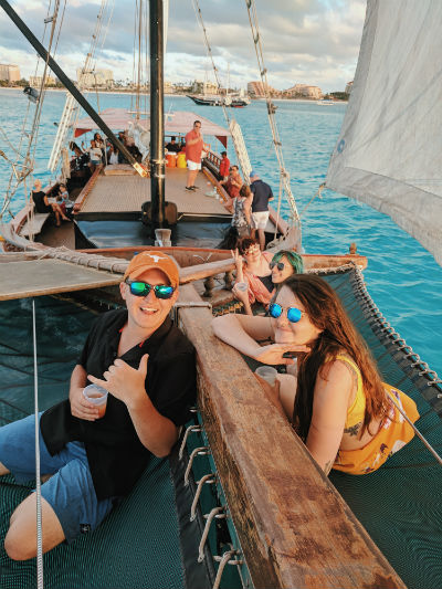 Aruba Our group on the netting of the Jolly Pirates Cruise Ship.