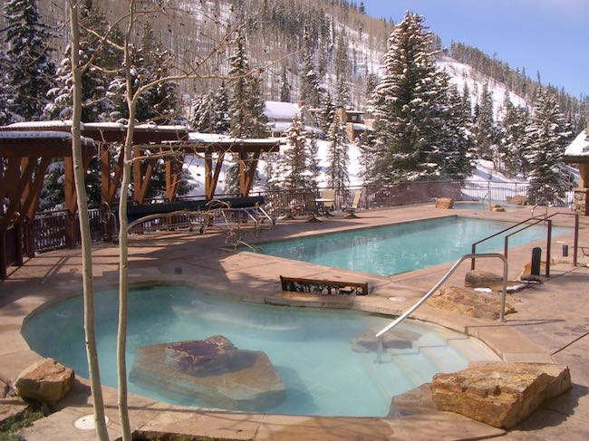 Pool and hot tub in winter. Photo courtesy of The Antlers