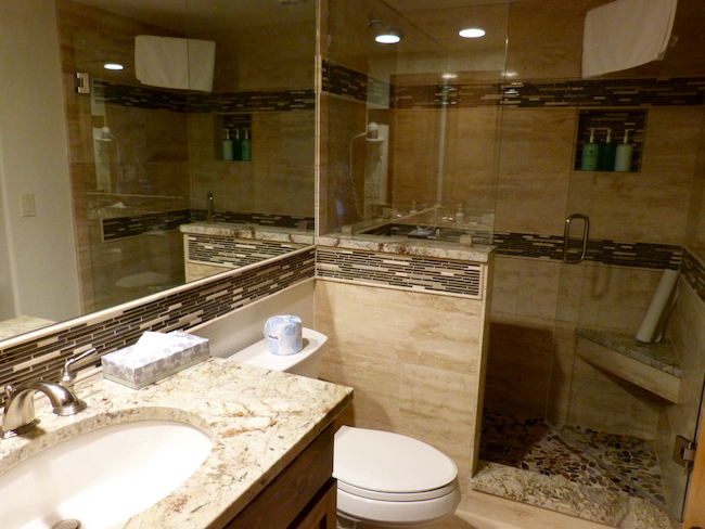 One of the bathrooms in the condo with separate shower. Photo by Claudia Carbone