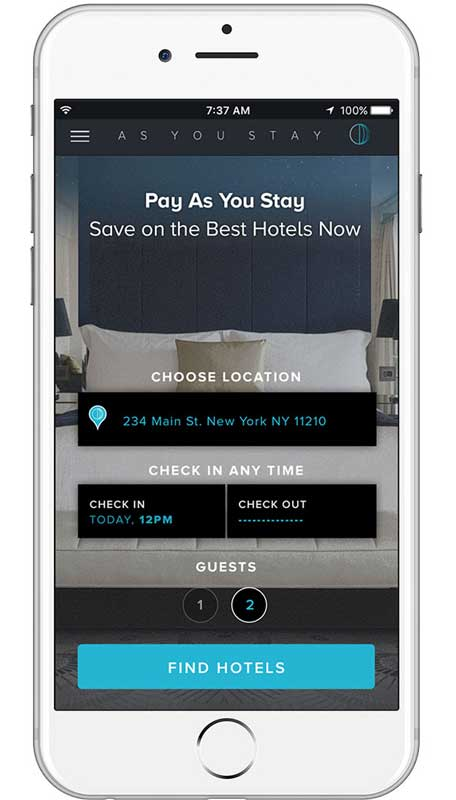 As You Stay app allows guests to book hotel rooms by the hour.