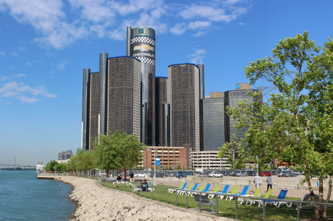 GM Headquarters complex in Detroit along the Detroit River.