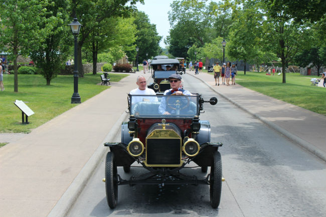 Detroit Riding a Model T Ford in Greenfield Village, adjacent to the Henry Ford Museum. Photo by Richard Varr