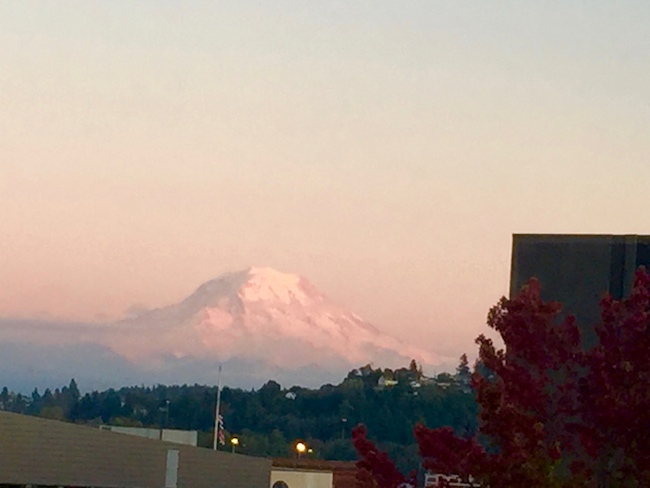 Mt. Rainier seen from the dining room window of Hotel Murano. Photo by Claudia Carbone