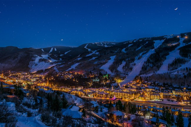 Vail at twilight. Photo by Jeff Andrew, courtesy of Vail Resorts.