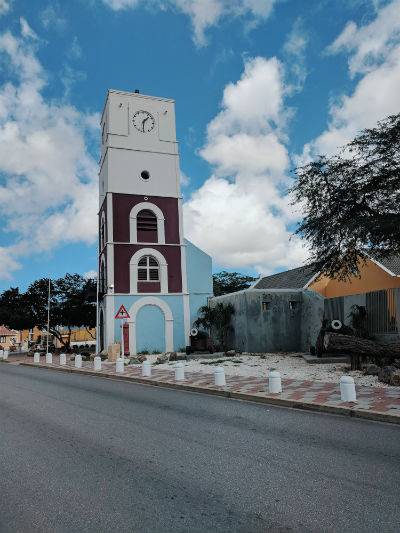 Aruba Fort Zoutman Historical Museum is the oldest building in Oranjestad, Aruba. Over the years, it has housed government office, a police station, jail, tax office, courtroom, library and post office. Today, the restored fort and tower house the Historical Museum, opened in 1984. Photo by Kelsey Nelson