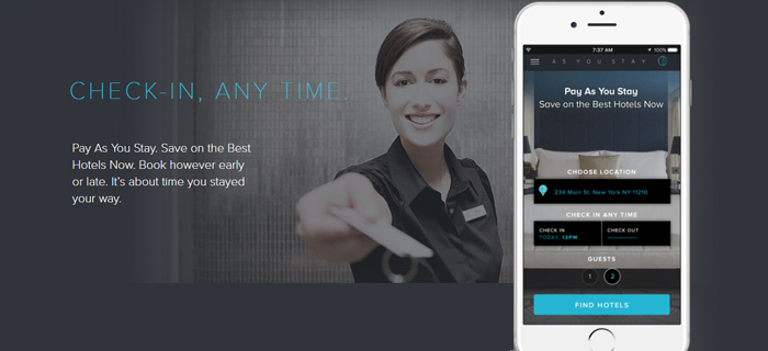 The As You Stay app gives travelers the flexibility to book hotels by the hour.
