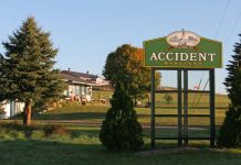 towns with unusual names A welcome sign for Accident, Maryland. Photo by Garrett County Chamber of Commerce.