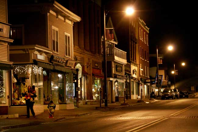 A night time view of the town of Lake Placid. Photo by Dino Vournas