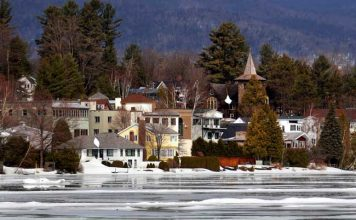 A view of Mirror Lake in Lake Placid, a community located in the Adirondacks of upstate New York .