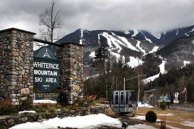 The entrance to Whiteface Mountain Ski Area near Lake Placid.