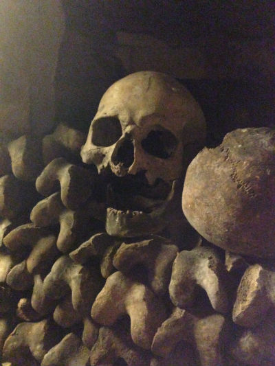 Paris Catacombs A skull missing the jaw bone. Photo by Clare Radcliffe Thorne