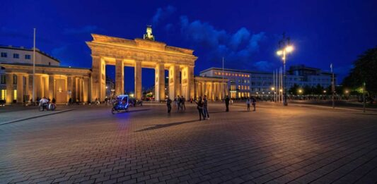 Brandenburg Gate is a symbol of the united Germany. The Berlin Wall fell in November 1989.