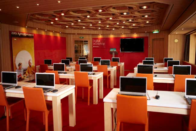 The onboard Microsoft Digital workshop offers frequent software classes during the cruise. Photo by Holland America Line