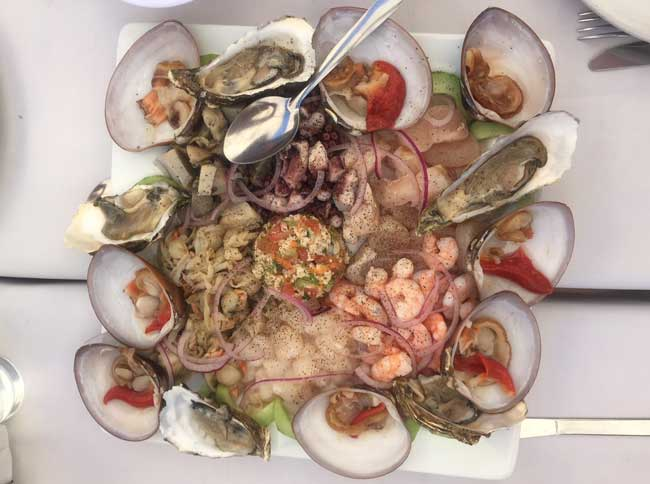 Fresh seafood is a staple in the cuisine of La Paz, such as this excellent dish at Biskmarcito, a restaurant along the water. Photo by Janna Graber