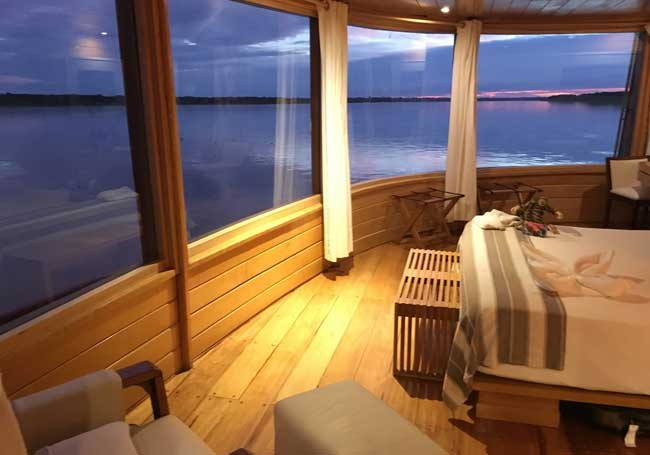 Our spacious cabin aboard the Delfin II Cruise in the Amazon. Flickr/Scott Ableman