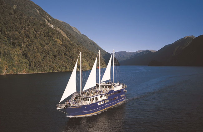 Cruising on the Fiordland Navigator in Doubtful Sound, part of Fiorland National Park. Photo by Real Journeys