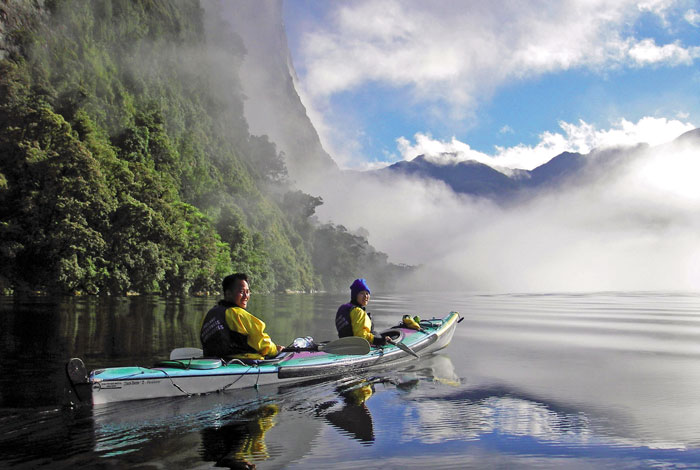 Sea kayaking in Doubtful Sound, part of Fiordland National Park. Photo by Real Journeys