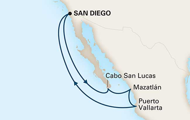 The 7-day cruise on the Oosterdam visited Cabo San Lucas at the southern point of the Baja Peninsula, as well as Mazatlan and Puerto Vallarta on the Mexican mainland.