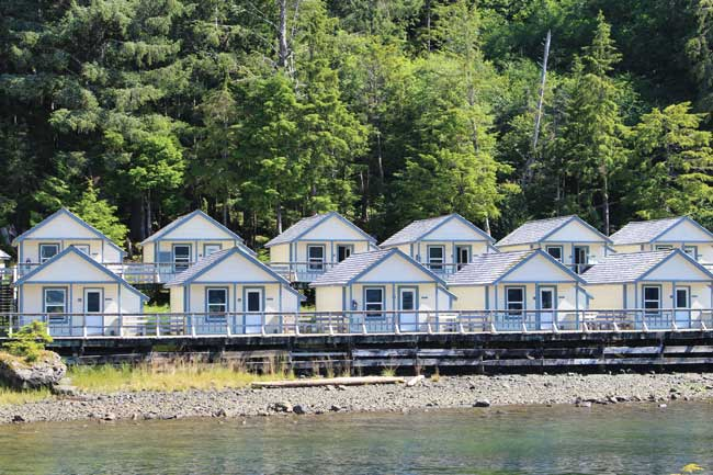Guest cabins at Waterfall Resort in Alaska. Photo by Janna Graber