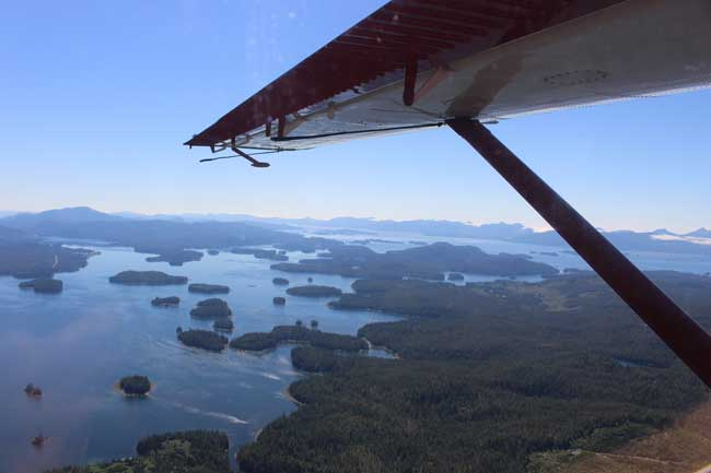 Flying to Waterfall Resort, we flew over bays, inlets and hundreds of tiny islands in Alaska. Photo by Janna Graber