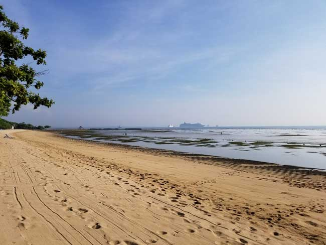 Benoa Bay at low tide from Sumah Beach in Nusa Dua. Photo by Carrie Dow