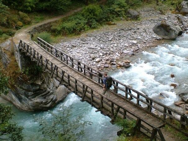 Crossing the Pindari River in the Himalayas. Photo by Dan Gowanlock