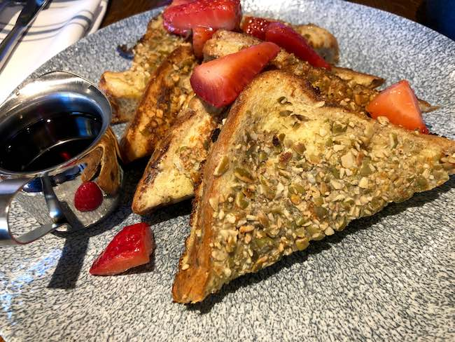 Pumpkin seed encrusted French toast. Photo by Claudia Carbone