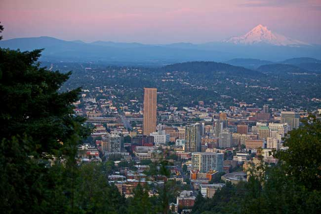 Portland city skyline with Mount Hood in the distance. Photo by TravelPortland.com